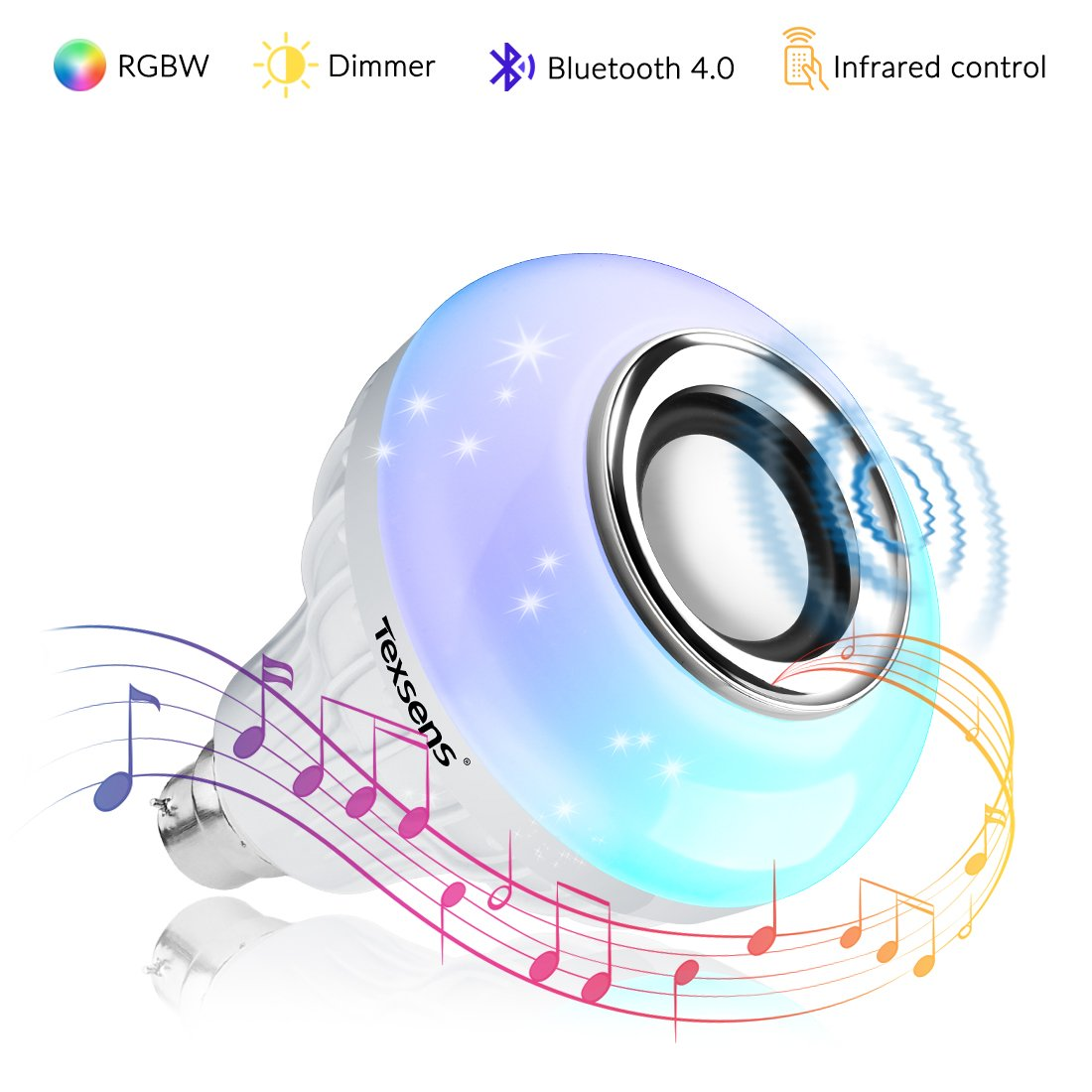 Texsens Bluetooth Music Lamp LED Bulb with Integrated Speaker, 6W E27 RGBW Changing Light Wireless Stereo Audio with 24 Keys Remote Control