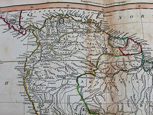South America Brazil La Plata New Andalusia 1811 Russell old antique color map