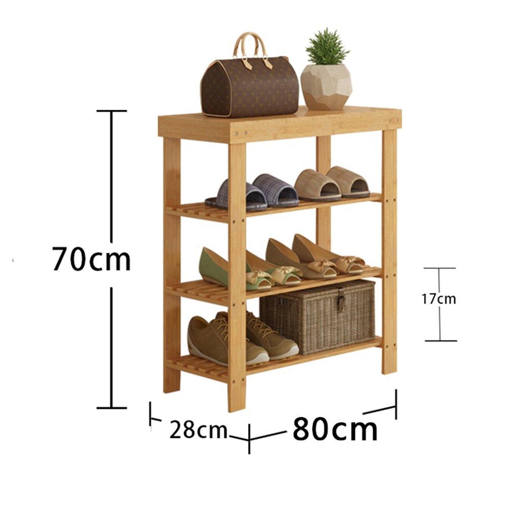 YNN 3層靴ラック竹家庭防塵多機能戸口靴箱靴ベンチシェルフ高さ70cm (サイズ さいず : 80センチメートル) B07DWQ2KRS80センチメートル