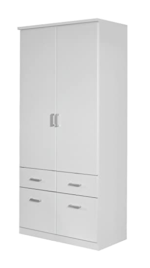 Rauch Kleiderschrank 2-türig Weiß mit Schubladen, BxHxT 91x199x56 cm ...