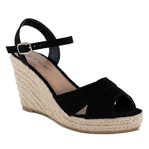 005468d328b TF STAR Jute Rope Wedge Sandals for Women,Women Platform Summer Shoes Ankle  Strap Espadrille Wedge Heel Sandals
