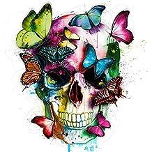 5D DIY Diamond Painting Kit, Sugar Skull Butterflies Diamond Painting Full Drill Adults Kids Room Wall Decor Gift