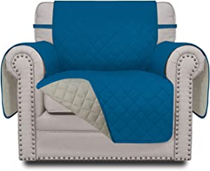 Easy-Going Sofa Slipcover Reversible Chair Cover Water Resistant Couch Cover Furniture Protector with Elastic Straps for Pets Kids Children Dog Cat(Chair,PeacockBlue/Beige)