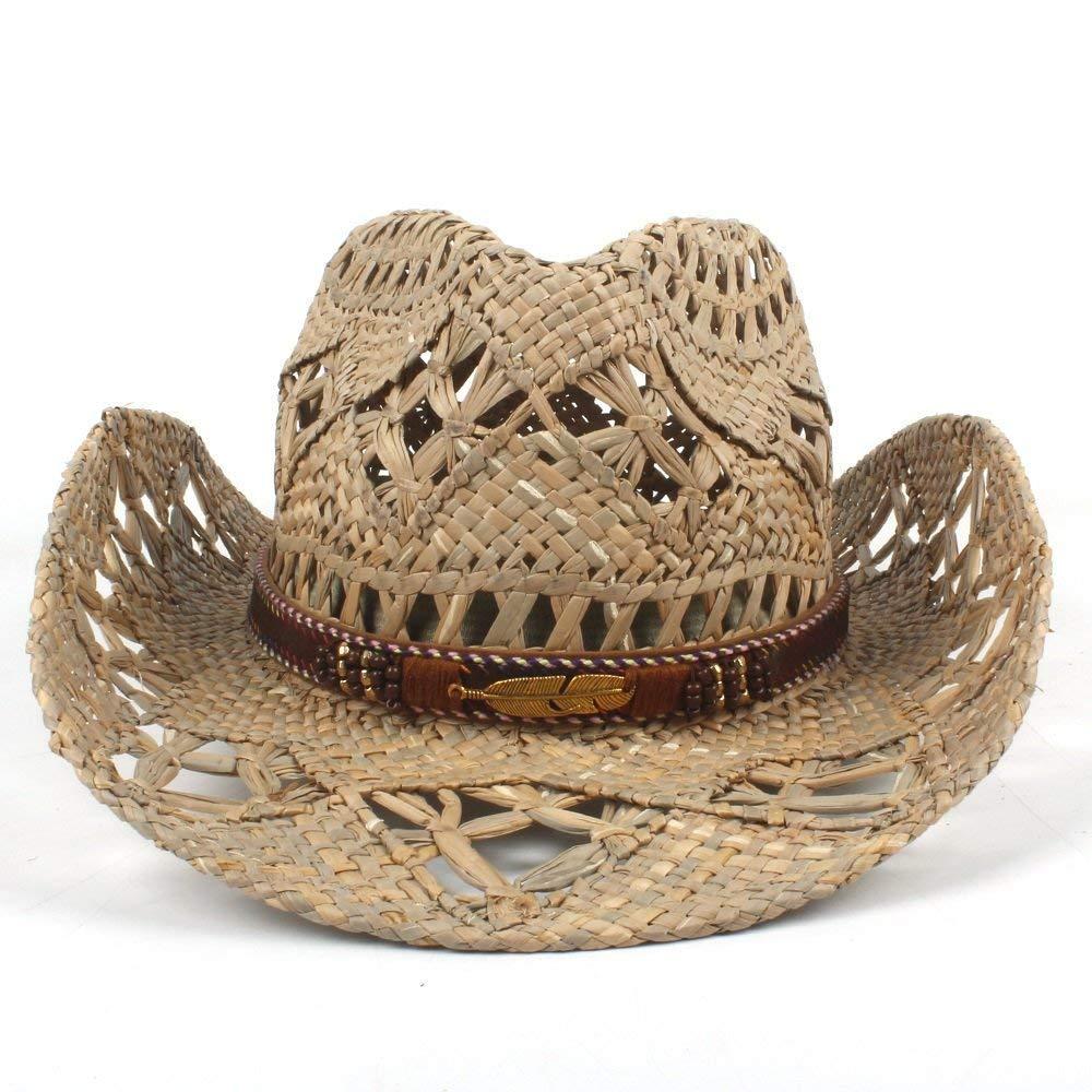 Achun Mütze AZR Mode Damen Herren Western Cowboyhut Roll-Up Breiter Krempe Cowgirl Jazz