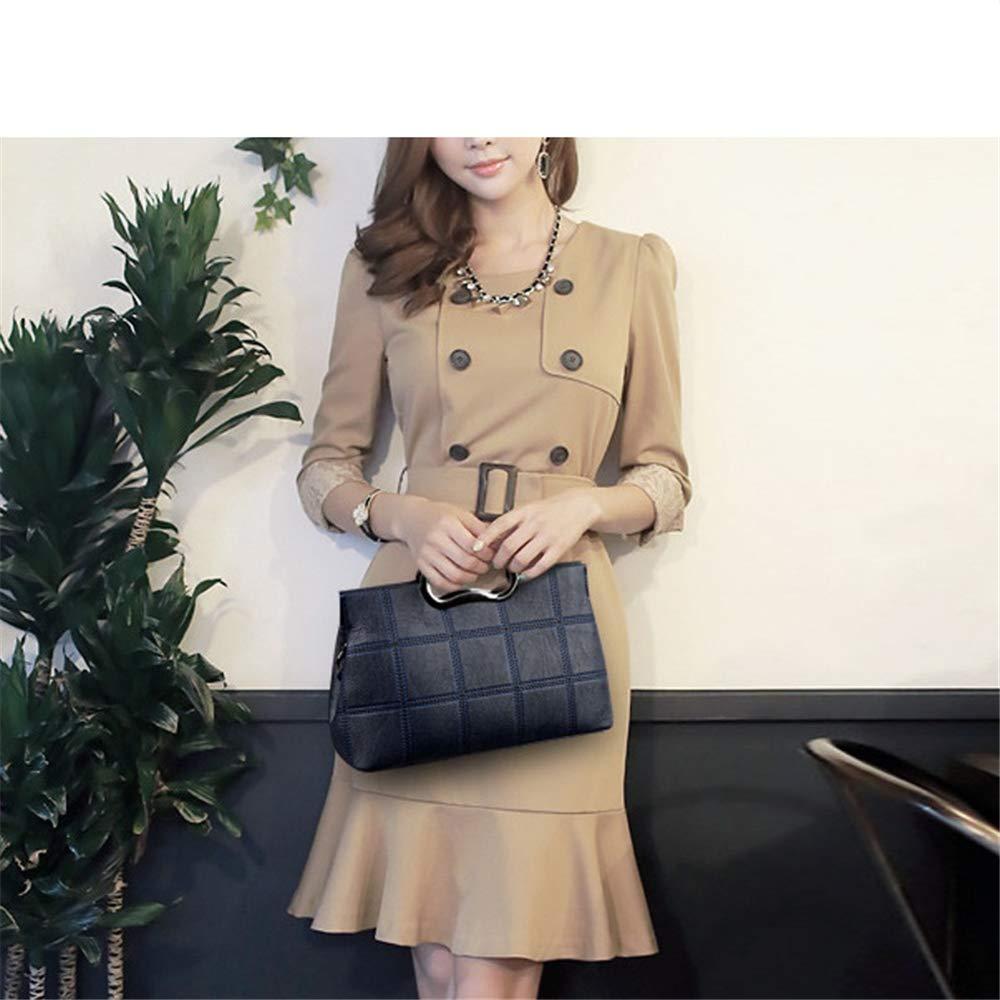 LUKIFU Messenger-Bags Schultertaschen Rucksackhandtasche Handtasche Damen Damen Leder Handtasche Damen Messenger Schultertasche Blue