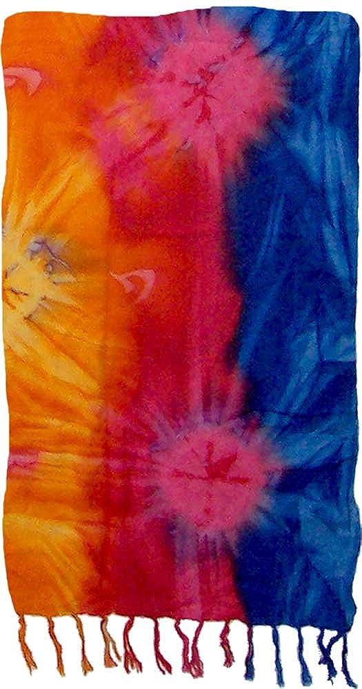 Plus Size Tie Dye Sarong Deep Colored Rainbow