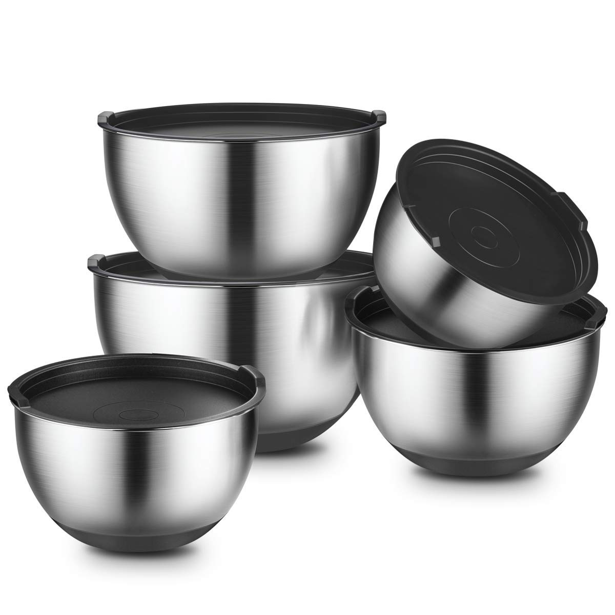 Mixing Bowls With Lids Set of 5, Stainless Steel Mixing Bowls Set with Lids, Non-Slip Silicone Bottom, for Mixing & Beating, Stackable Storage, Set Includes (1, 2, 2.5, 3, 4.5 QT) – By GEEMAY 4.5 QT) – By GEEMAY TB-SB001