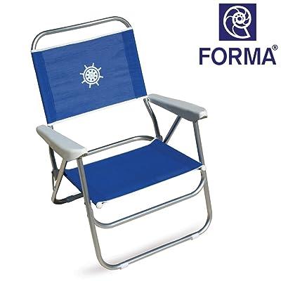 FORMA Chaise De Plage Pliable Bikini Structure En Aluminium Anodise 20mm Tissu Textilene 650gr M2 Bleu Pour Usage Exterieur Plagecamping