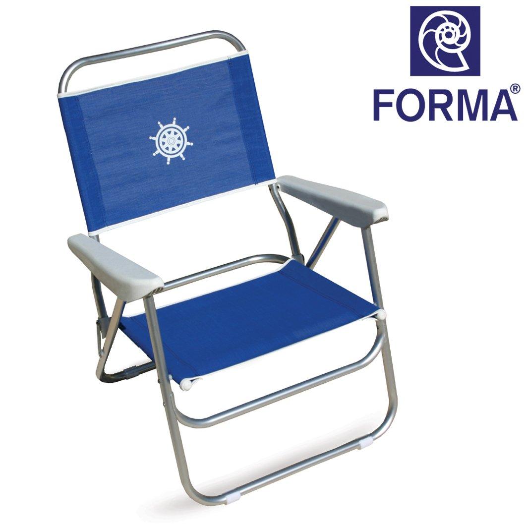 FORMA MARINE Strandstuhl Bikini; Gestell aus eloxiertem Aluminiumrohr; 20mm ; Stoff: Textilene 650gr/m2, blau. Kann auch als Campingmöbel, Klappsessel, Klappstuhl, Campingstuhl. PA560B