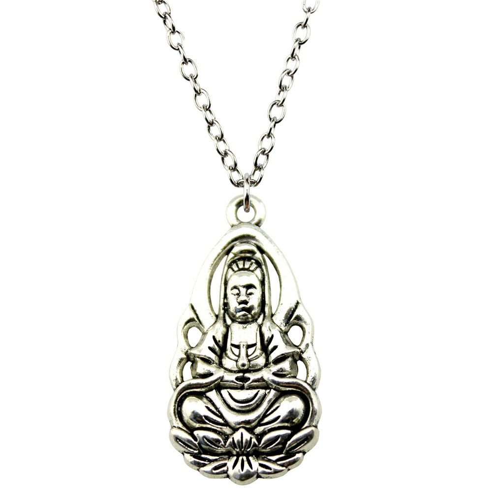 NEWME Buddha Charms Metal Chain Necklace For Anniversary Handmade Jewelry Kraftpaper Box Gifts