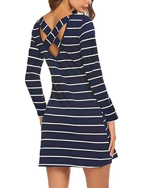 7fab84bbe8d Women s Scoop Neck Striped Criss Cross Back Dress Pocket Long Sleeve Shift  Dress Navy Blue XL