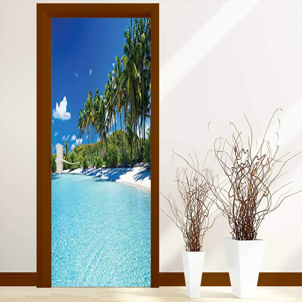 L-QN Creative Door Stickers Bedroom Doors Relax Beach Resort Spa Palm Trees and Sea Indoor and Outdoor use W31 x H79 inch