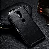 Premsons Moto G4 Plus Leather Flip Cover Case With Card Slot Pu Leather (Black)