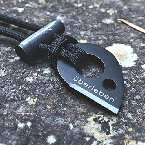 überleben Leicht Fire Starter Necklace | Lanyard Ultralight Ferro Rod | 12,000 Strikes | Bushcraft Survival | Flint & Steel Two Part Pendant