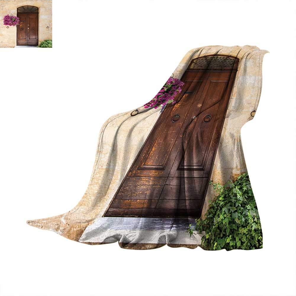 Italian Super Soft Lightweight Blanket Rusty Wood Door with Flowers in Italian Town Authentic Nostalgic Building Summer Quilt Comforter 60''x36'' Cream Lilac Brown