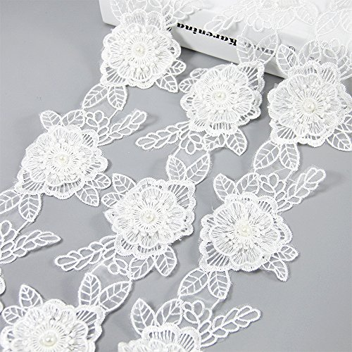 (White Flower Lace Trim Applique with Pearl Ribbon 5 Yards 3- Layer Sewing DIY Craft Lace for Festival Wedding Party Birthday Bridal Shower Decoration and DIY Handmade Accessories (Flower and Leaf))
