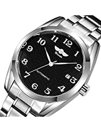 Gute Classic Mechanical Watch Black Dial Silver Steel watchband Self-wind Men-standard by GuTe Mechanical