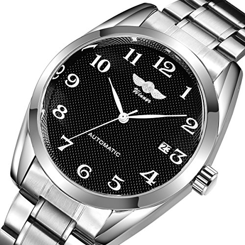 Silver Dial Mechanical (Gute Classic Mechanical Watch Black Dial Silver Steel watchband Self-wind Men-standard by GuTe Mechanical)