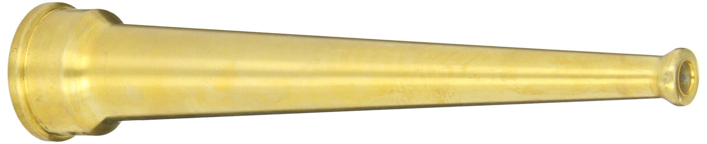 Dixon Valve BN10 Brass Fire Equipment, Plain Hose Nozzle, 1'' NPSH, 8'' Length, 5/16'' Orifice