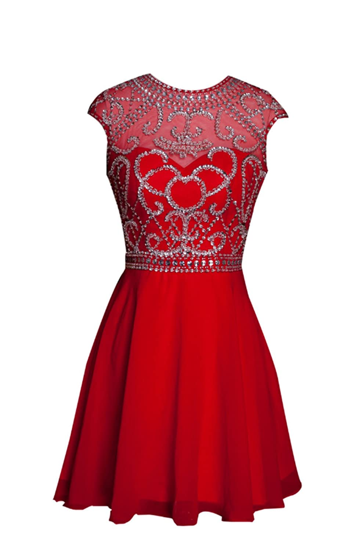 AngelDragon Rhinestones Beading Chiffon Short Prom Dresses Cocktail Gowns