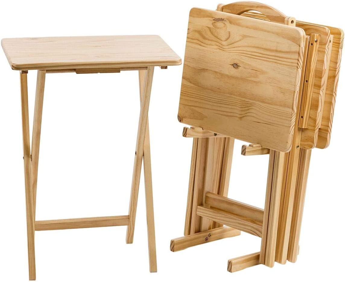 MFS Basics Classic TV Dinner Snack 4 Table Set with Holder – Natural