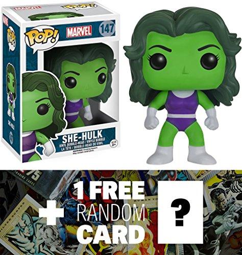 She-Hulk: Funko POP! x Marvel Universe Vinyl Bobble-Head Figure + 1 FREE Official Marvel Trading Card Bundle (073039)
