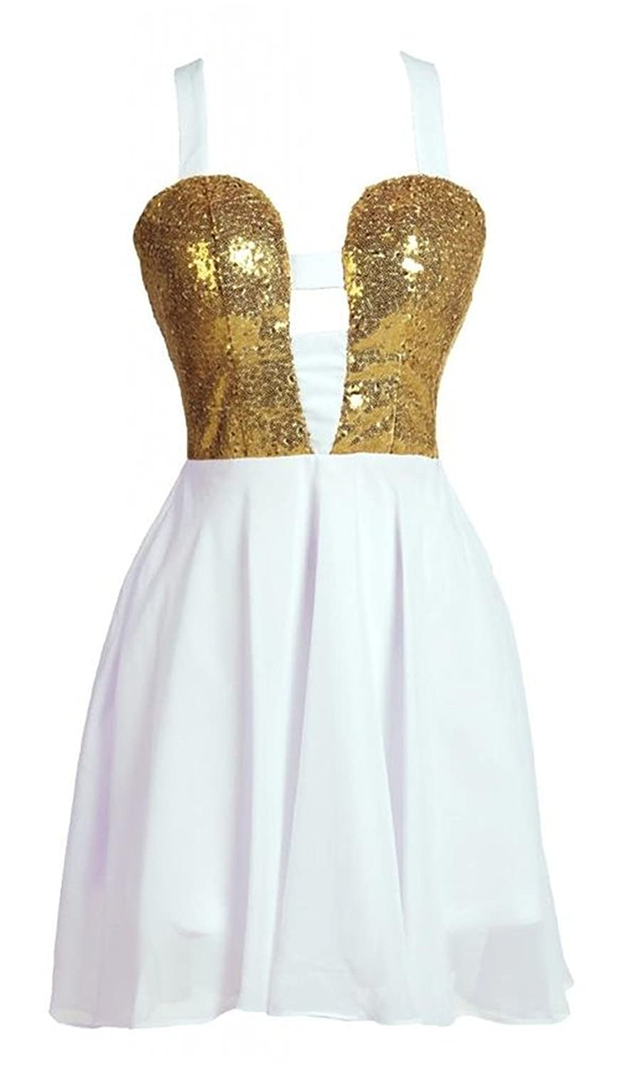 Queenworld Sweetheart Sequins Short Prom Dress Cocktail Dresses US-8 Yellow