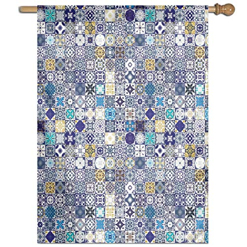 - YUANSHAN Single Print Home Garden Flag Mediterranean Square Tile Motifs Pattern Polyester Indoor/Outdoor Wall Banners Decorative Flag 27