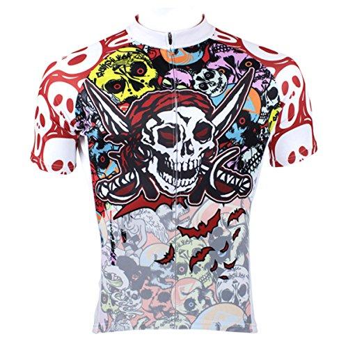 - ILPALADINO Men's Cycling Jersey Short Sleeve Biking Shirts Skulls Pattern (XXS, Pirate Skulls)