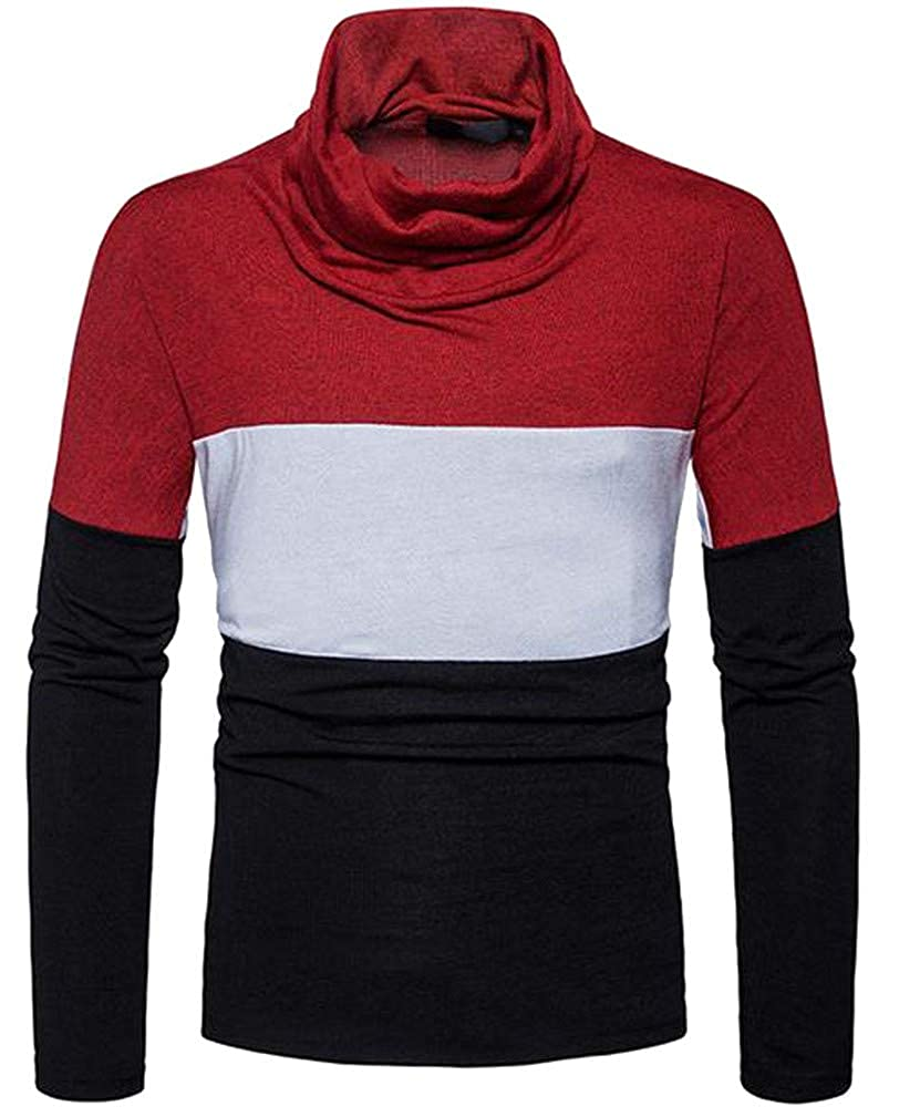 Lutratocro Mens Contrast Color Cowl Neck Knitted Casual Pullover Jumper Sweaters
