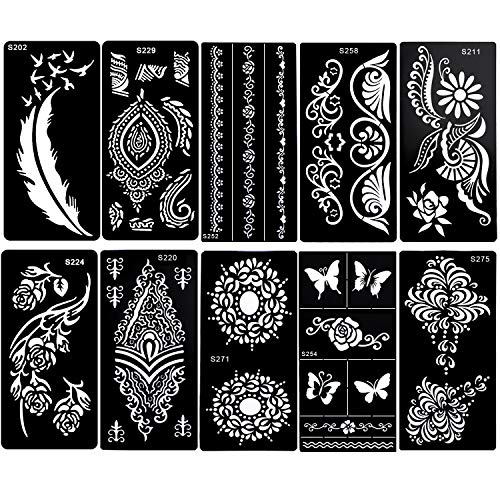 Konsait 10Sheets Large Temporary Tattoo Stencils, Reusable Henna Tattoo Sticker Template Feather Butterfly Mandala Flower Jewelry Face Body Art Glitter Tattoo Stencil Kit for Adults Women Girls
