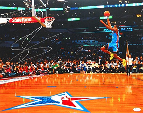 Signed Serge Ibaka Photograph - 16x20 OKC Dunk Contest - JSA Certified - Autographed NBA Photos