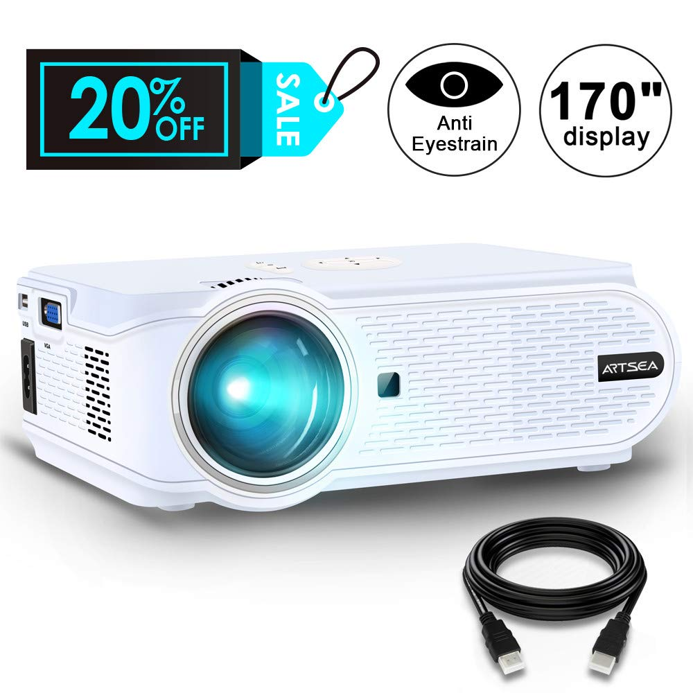 Projector, ARTSEA +80% Brightness for Home Theater LED Video Projector Support 1080P, HDMI, VGA, USB, AV and Headphone Interface for Multimedia Home Theater Entertainment