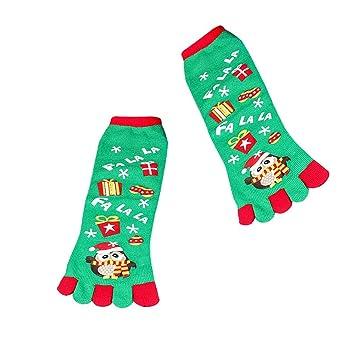 Coomir Navidad Dibujos Animados Santa muñeco de Nieve impresión Calcetines del Dedo del pie Cinco Dedos de algodón Calcetines Divertidos: Amazon.es: Hogar