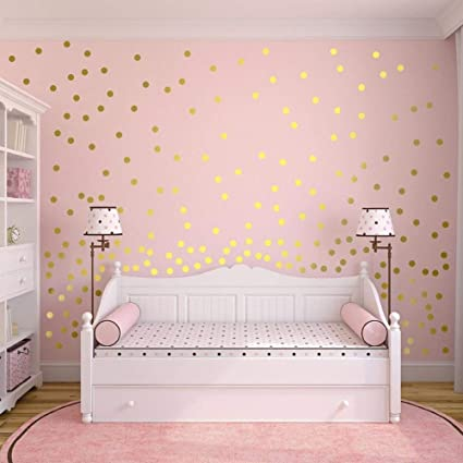 220pcs Gold Dots Wall Stickers For Kids Bedroom Wowoss Removable Dots Stickers Wall Decor For Baby Room Nursery Kindergarten And Bedroom Decoration Amazon Co Uk Baby