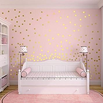 Wowoss Gold Punkt Aufkleber Herausnehmbarer Dot Aufkleber Wandtattoo Punkte Fur Kinderzimmer Deko 220 Punkte