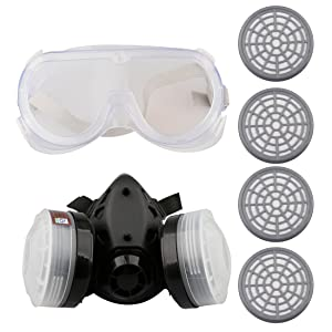 A-SZCXTOP Dual Cartridge Respirator Anti Dust Gas Mask Half Mask with Protective Goggles and 4 Filters Box