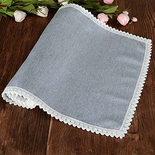 MANVEN Linen Table Runners 72 inch Gray-Blue,Natural Vintage Fabric Solid Kitchen Table Runner,Non-Slip Wrinkle Free Cotton Table Scarf with Lace,for Birthday,Wedding,Outdoor,Party,Events,Decor