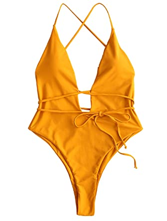 5b2a30246e Amazon.com: ZAFUL Womens Backless Monokini Padded Plunging High Leg One  Piece Swimsuit: Clothing