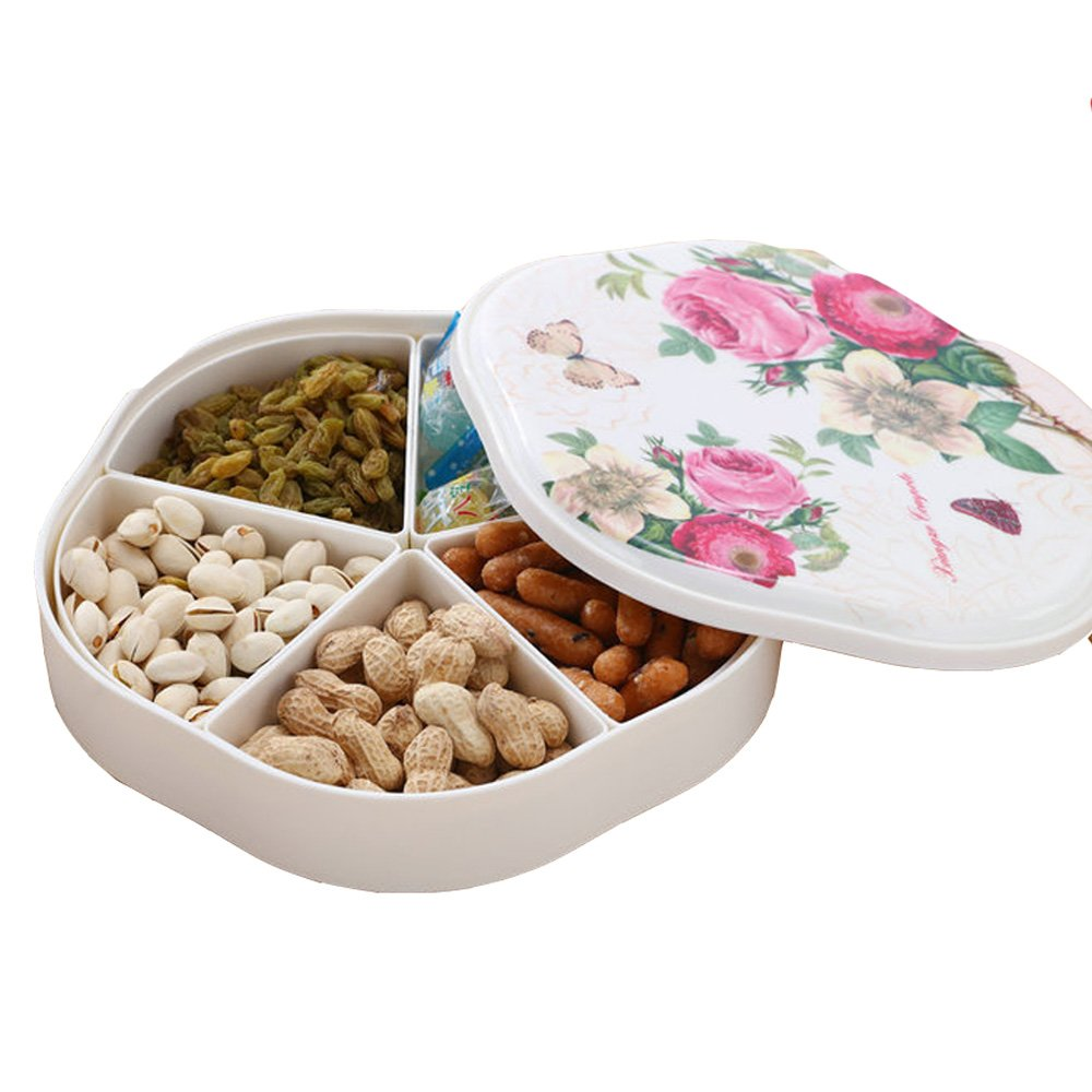TEERFU Snacks Food Storage Containers with 5 Compartments,Multi Purpose and Reusable, for Candy Favors, Fruit, Balms, Gels, Candles,Gifts,Food Safe, Easy to Open