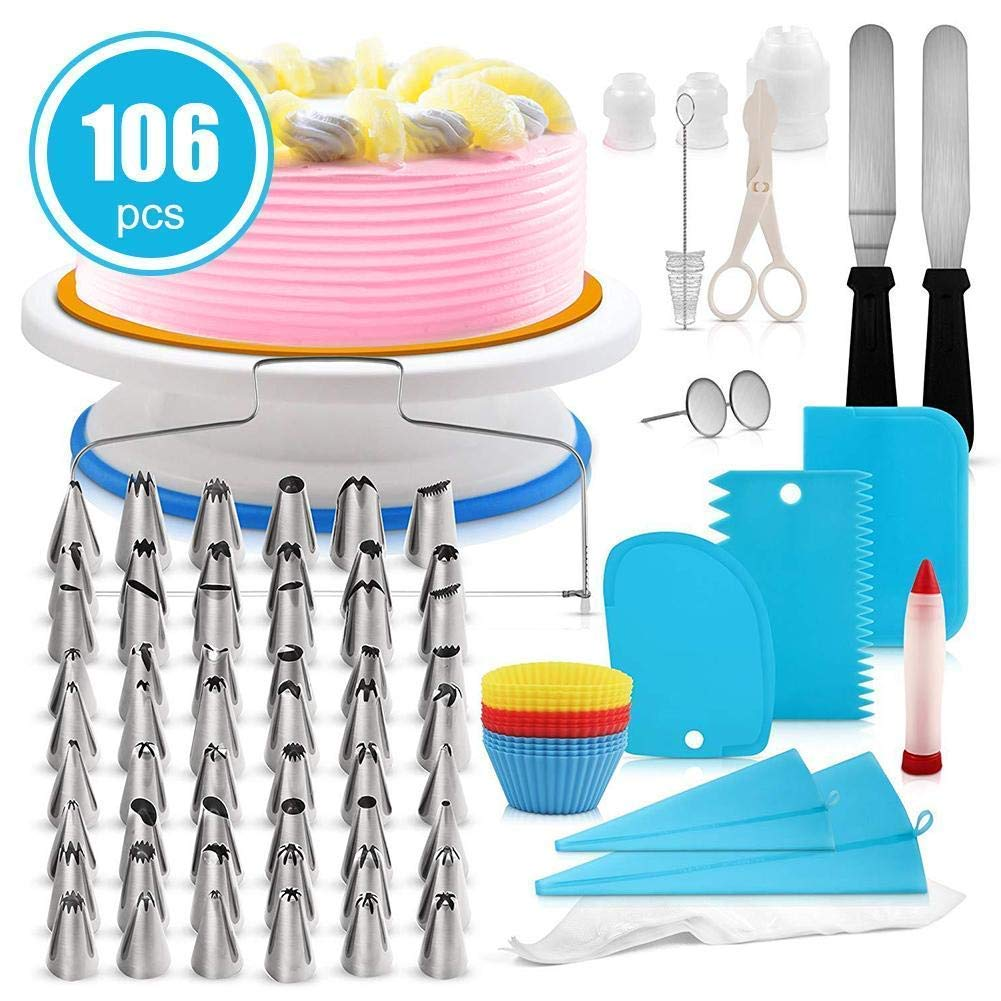 106 Pieces Cake Decorating Supplies Kit Cake Turntable Set Pastry Tube Fondant Tool Kitchen Dessert Baking Pastry Supplies
