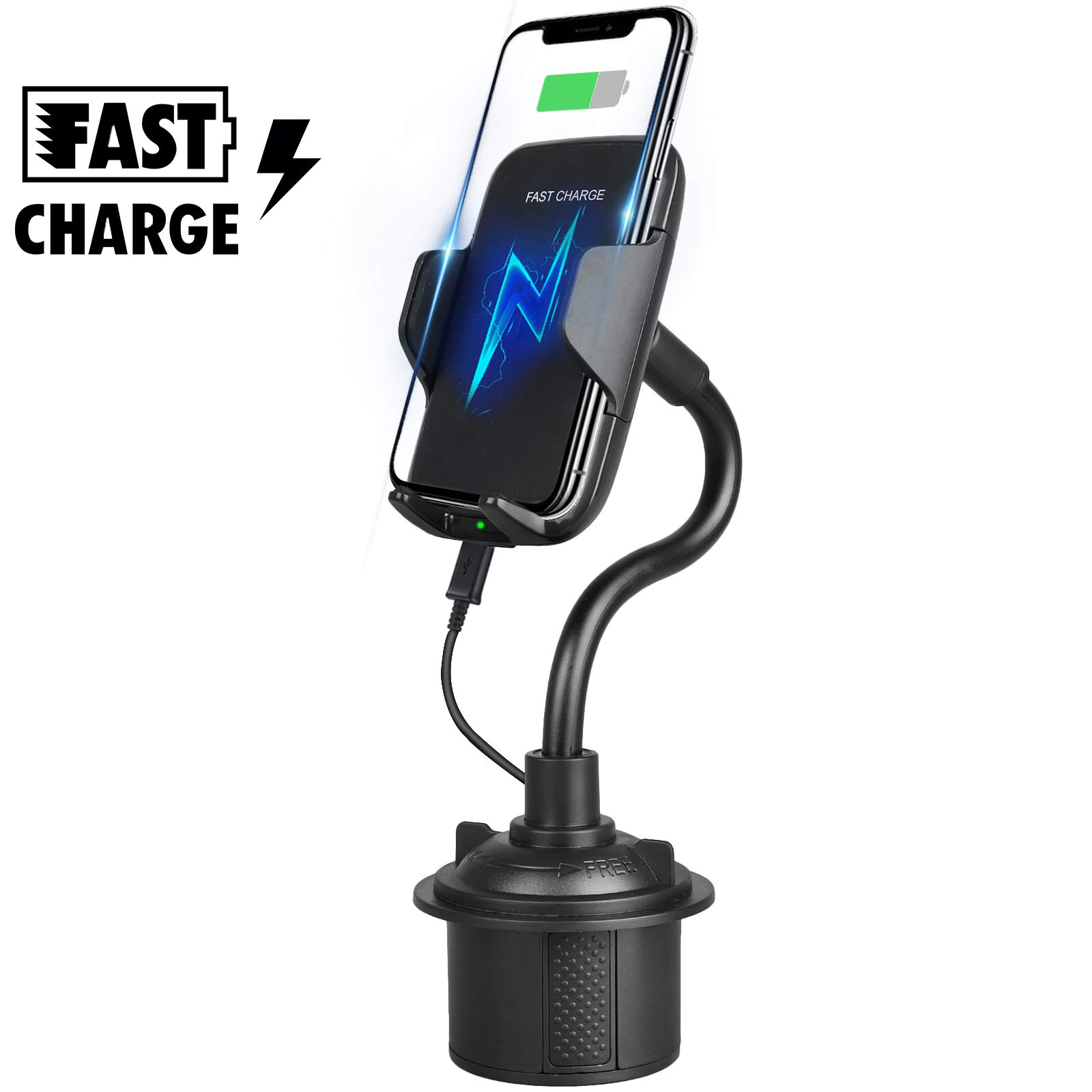 Sunjoyco Qi Wireless Car Mount Charger, 2-in-1 10W/7.5W Fast Charging Cup Holder Phone Mount Cradle Compatible with iPhone Xs XS Max XR X 8 Plus, Samsung Galaxy S10 S10+ S9 S9+ S8 S8+ Note 9