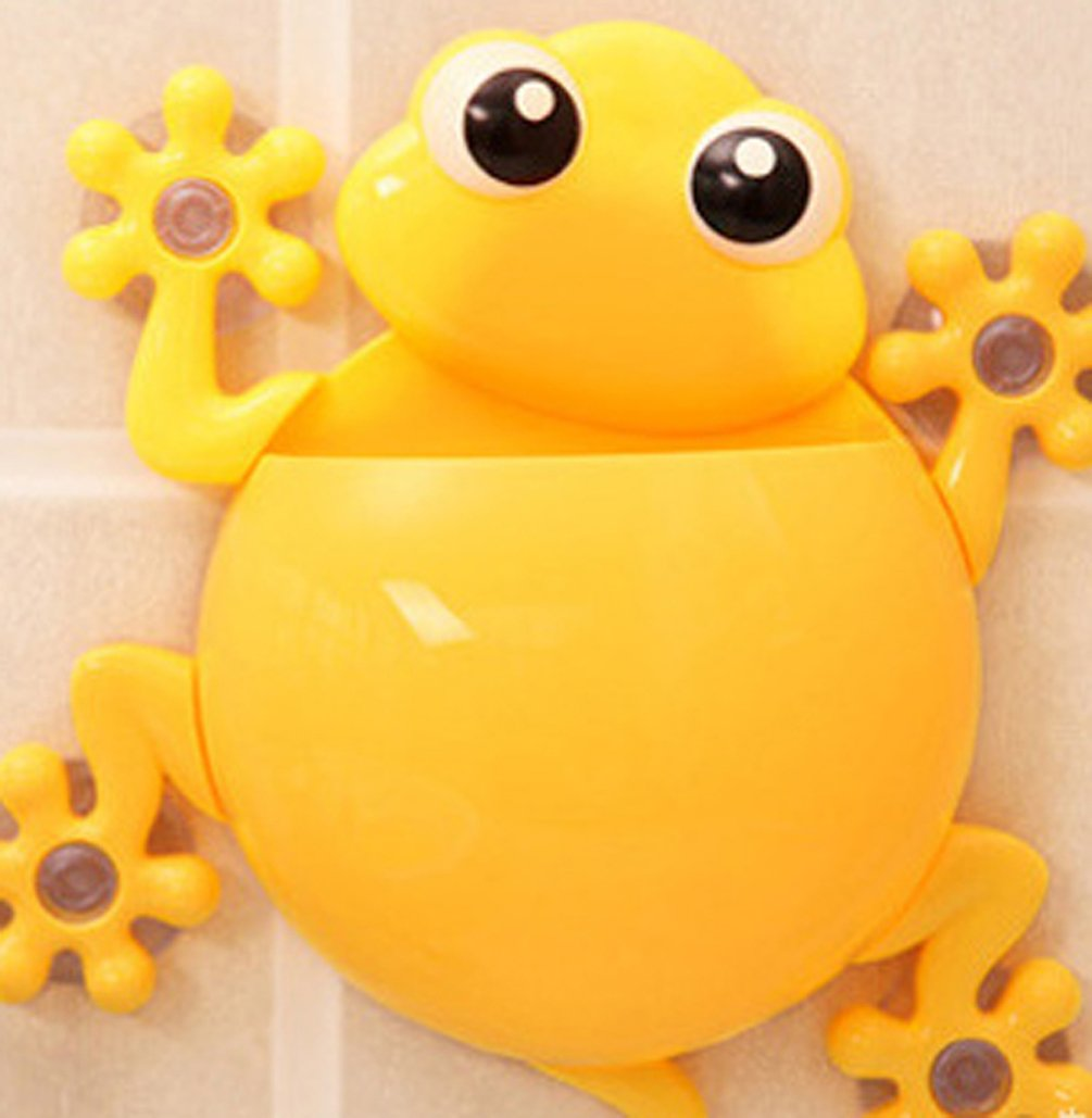 A_GOUGU Great Yellow Cartoon Sucker Gecko Toothbrush Holder Wall for Children's Bathroom Accessory Sets 1 Pcs