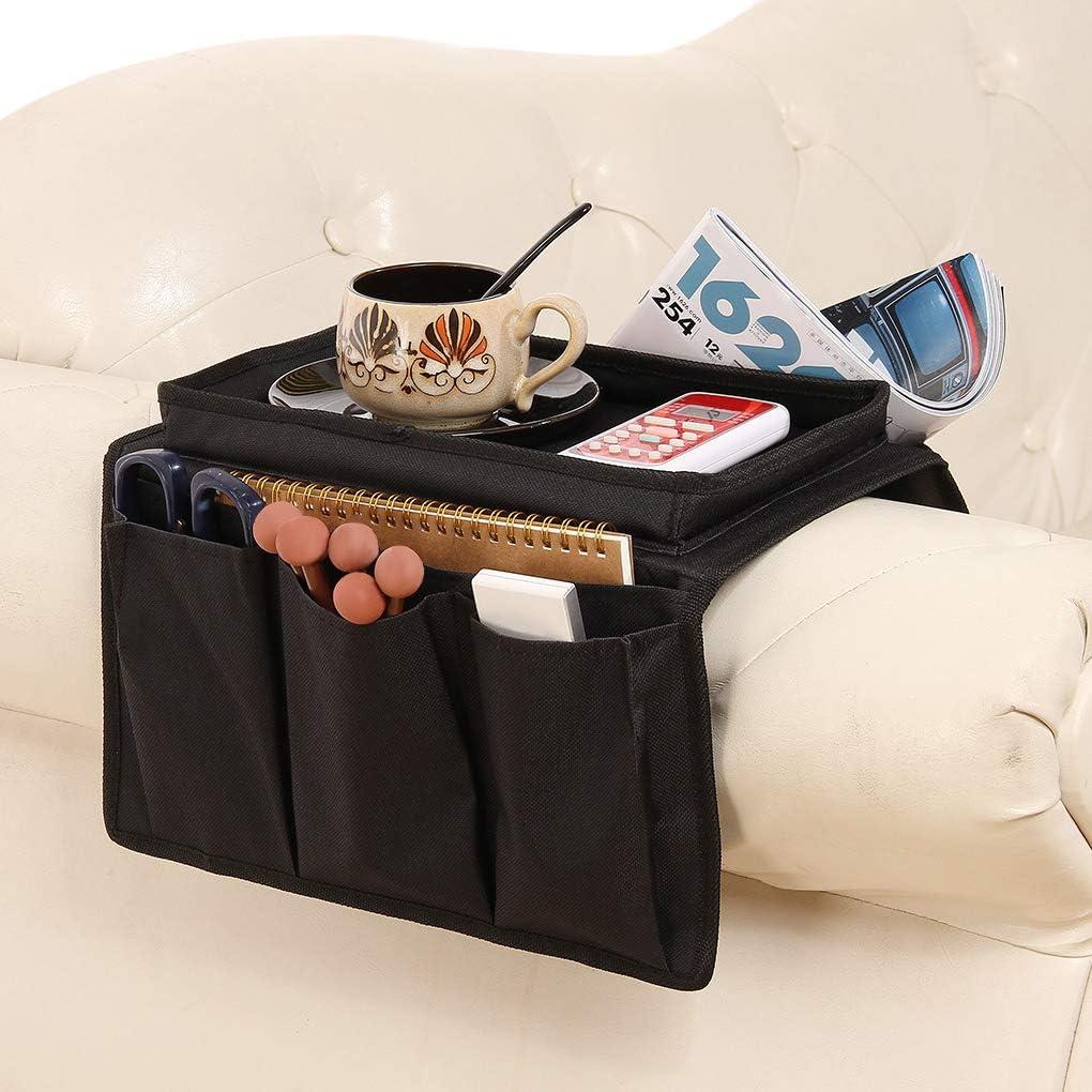 telefono portaoggetti a distanza Contorl per riviste con vassoio porta snack e porta tazze poltrona da comodino 6 tasche Organizer per bracciolo per divano