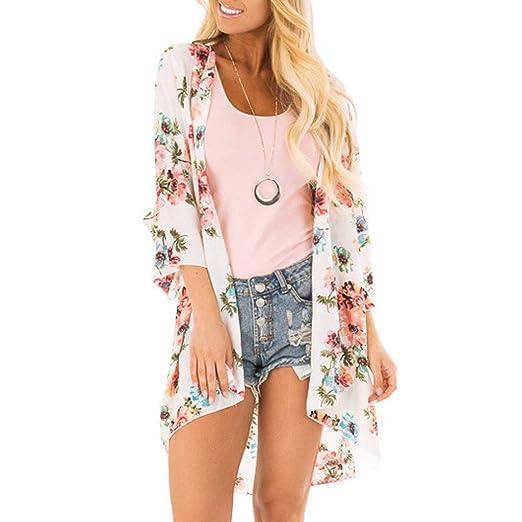9f9e437d75 Amazon.com: Severkill Women's Summer Blouse Sheer Chiffon Loose Kimono  Floral Print Cardigan Chiffon Beachwear Dress: Clothing