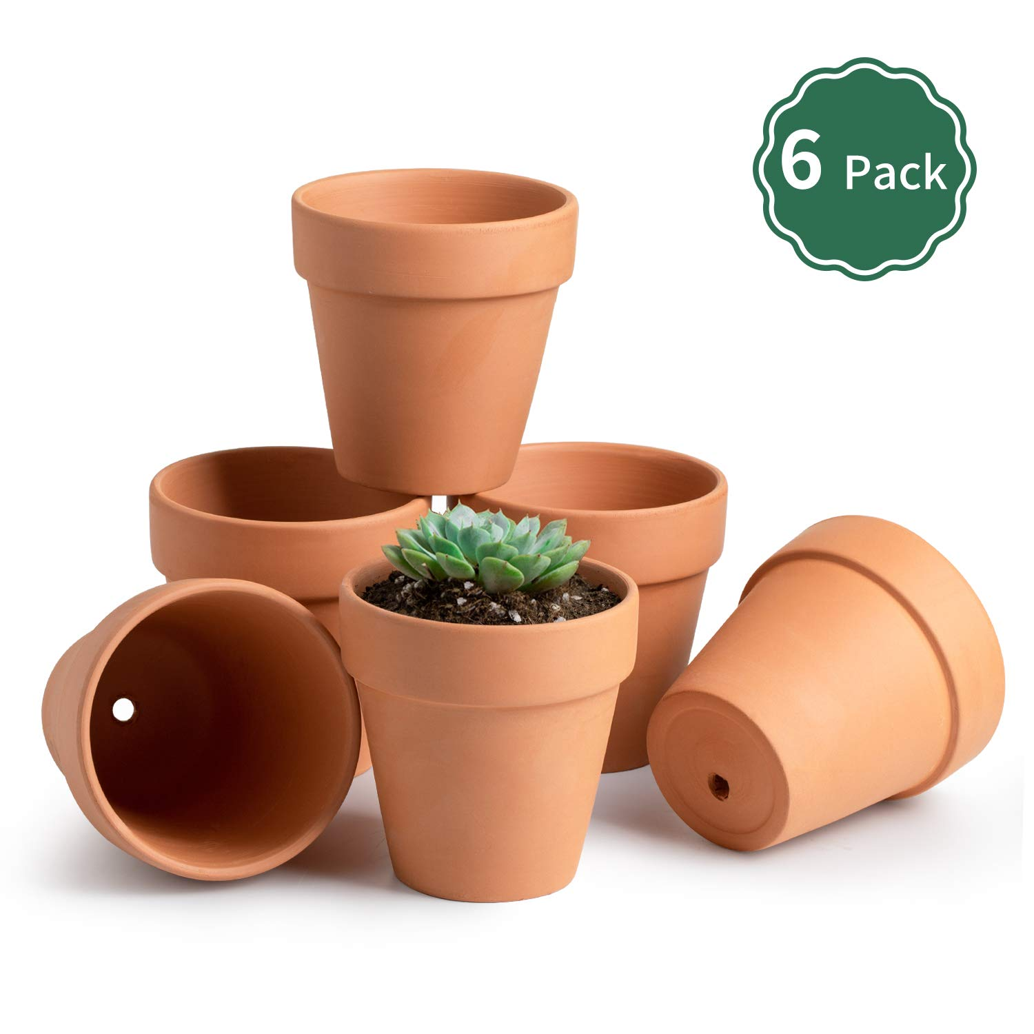 Potey Terracotta Flower Pot Clay Planter – 4.1 with Drain Hole for Succulent Cactus – Set of 6