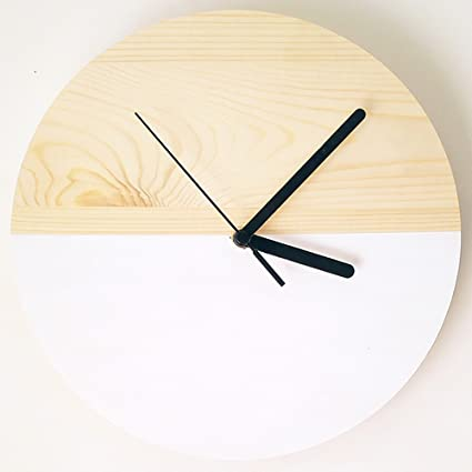 reloj de pared Relojes De Pared De Madera Natural. 10 pulgadas de estilo nórdico Inicio