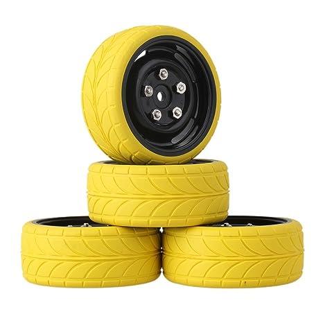 mxfans RC 1: 10 amarillo flecha patrón de goma neumáticos + llantas negro 4 agujeros