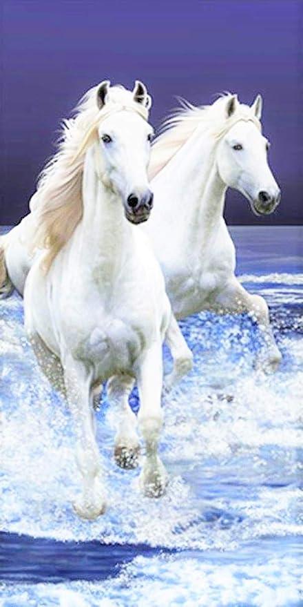 Jerry Fabrics - Toalla de baño con diseño de caballos blancos (70 ...