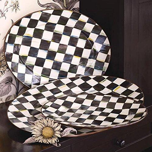 MacKenzie-Childs Courtly Check Enamel Oval Platter - Medium 14.25'' wide, 19'' long